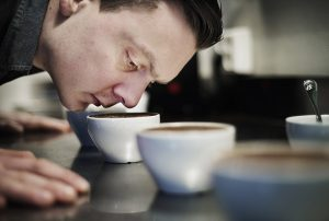 Pictures of coffee barista, Tim Wendelboe, at his coffee roastery in Grüners gate 1 in Oslo, Norway. Photo credit must be present at publication. Photo: Benjamin A. Ward